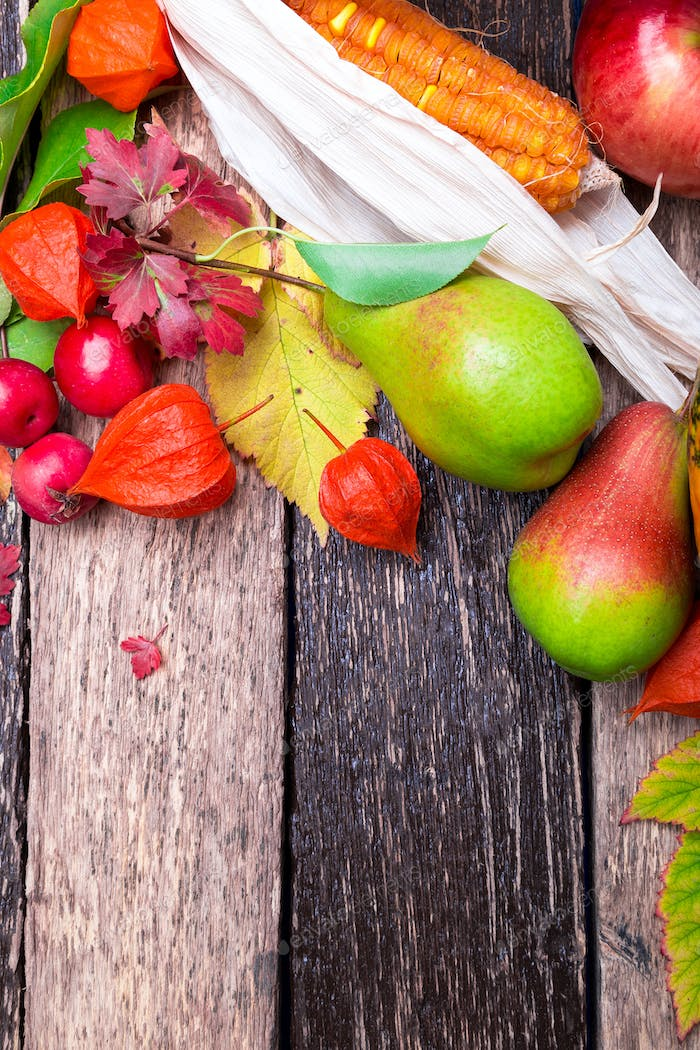 Thanksgiving background with autumn fruits and leaves on a rustic wooden table.