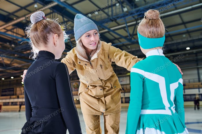 Mother with Two girls in Rink