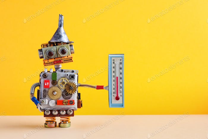 Weathermen robot with thermometer displaying comfort room temperature 21 degree celsius.