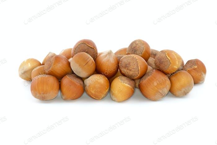 Small pile of hazelnuts