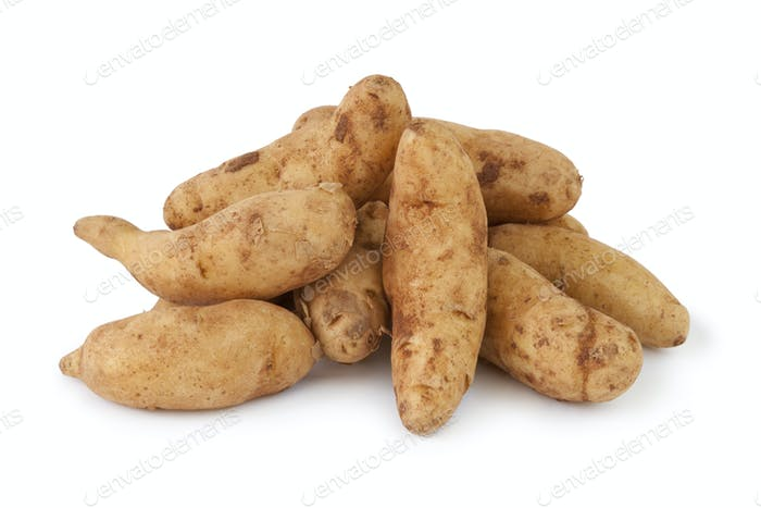 Heap of fresh raw kipfler potatoes