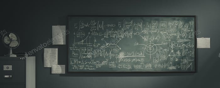 Chalkboard with complex math formulas