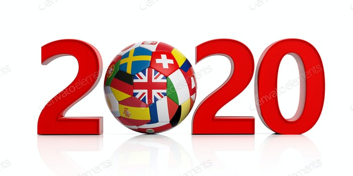 New year 2020 with flags soccer football ball isolated on white background. 3d illustration