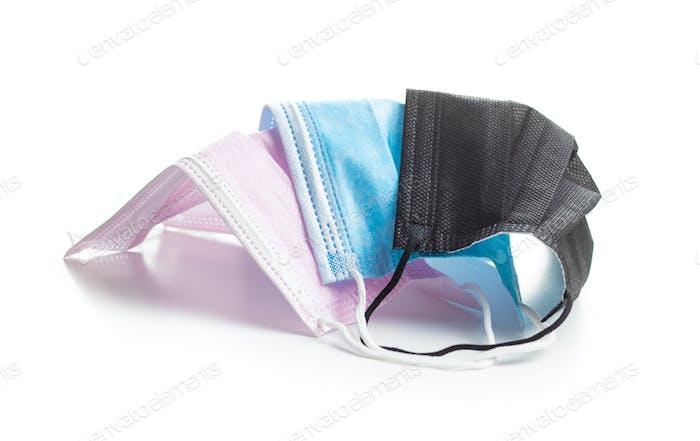 Corona virus protection. Colorful medical paper face masks