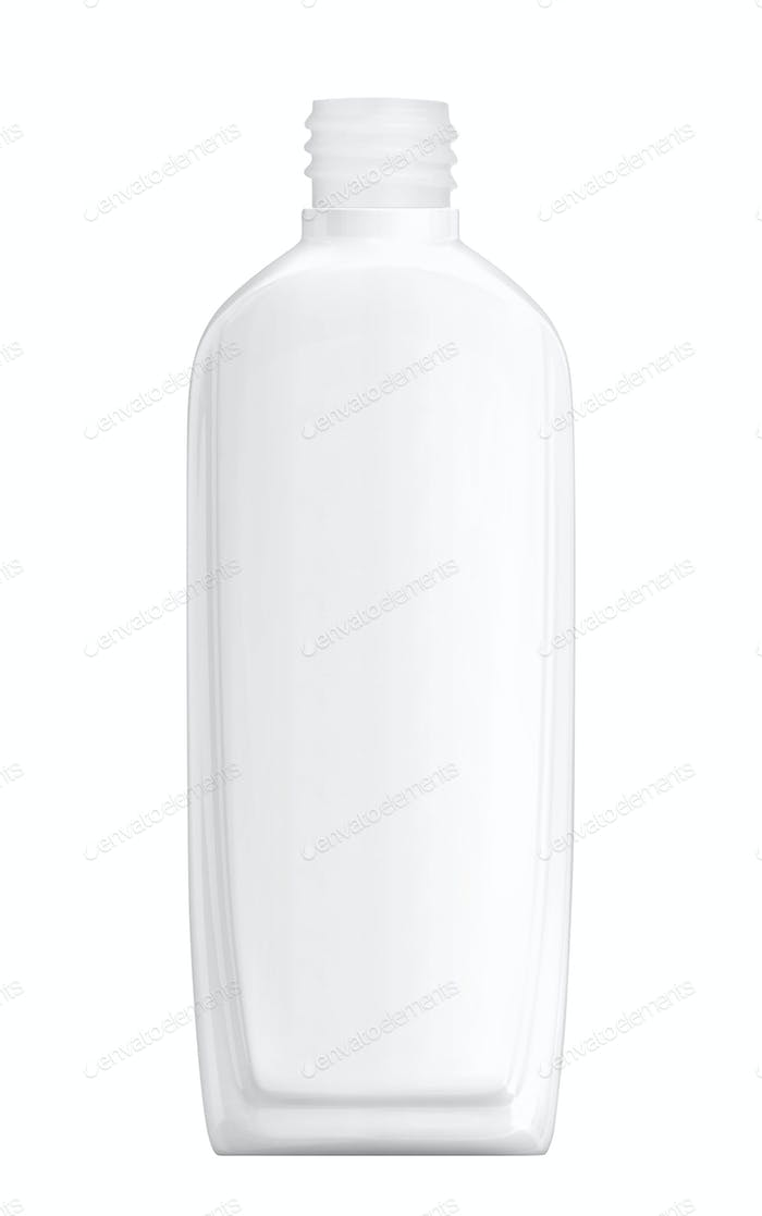 White plastic Shampoo Bottle isolated on white