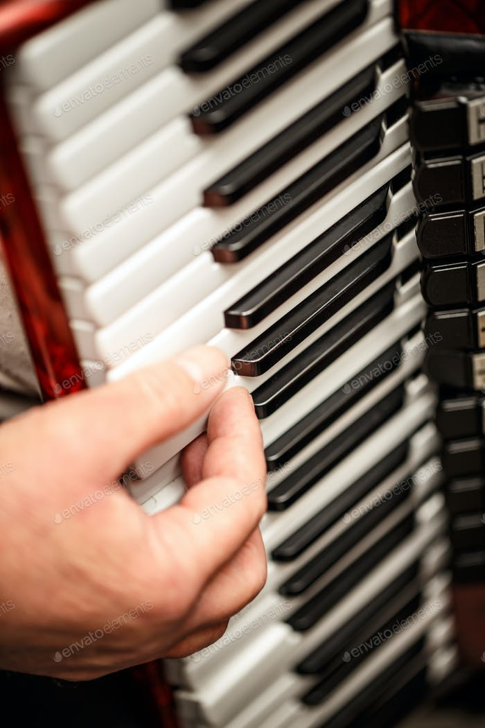 Hands playing an accordion instrument