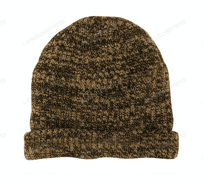 Wool knitted winter hat isolated on white background