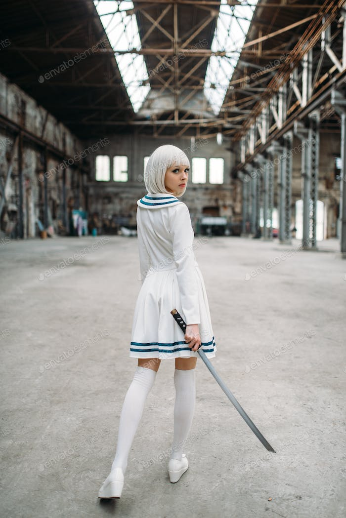 Anime style blonde woman with sword, back view