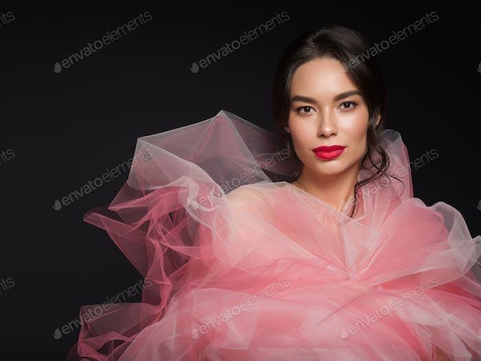 Art beauty female portrait red lipstick dress woman beautiful asian