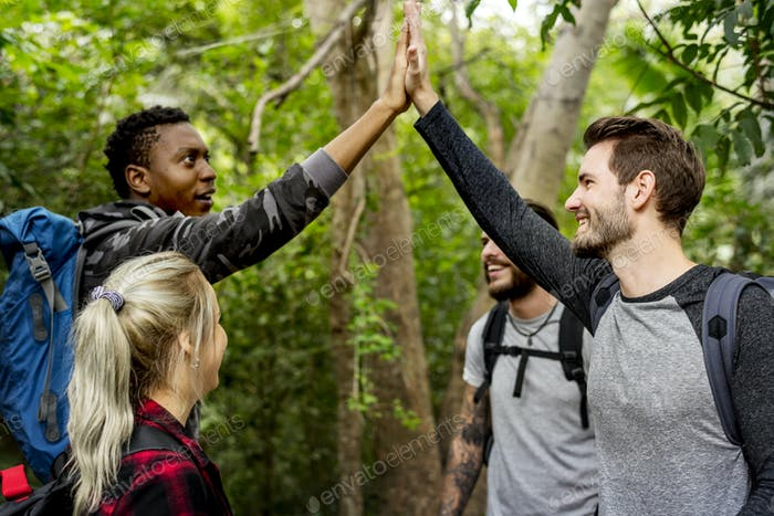 High five in the forest