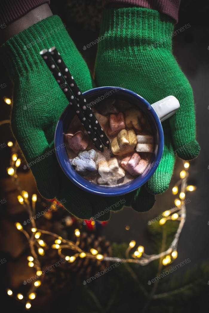 Cup of milk and Marshmallow. Christmas lights