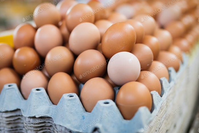 Picture of eggs in box at market
