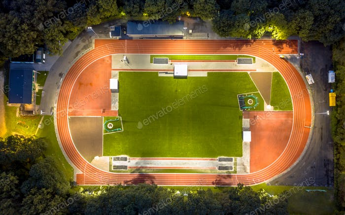 Aerial view of running track at night