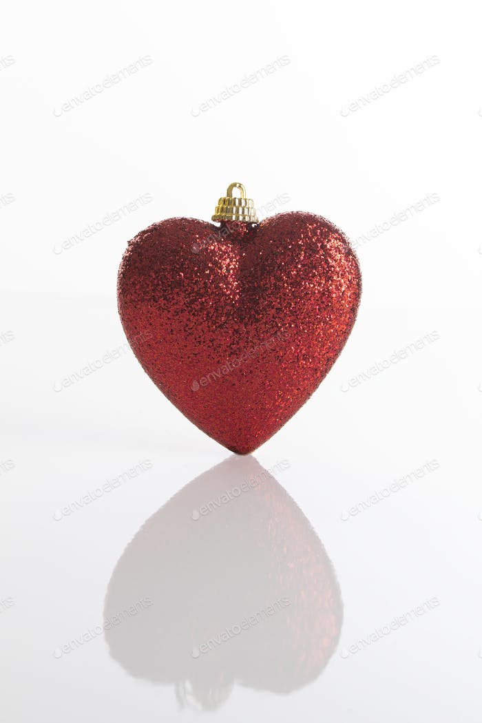 Red Christmas decoration with a heart shape