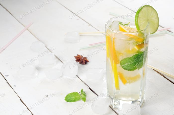 Lime and Orange Fruit Water with ice