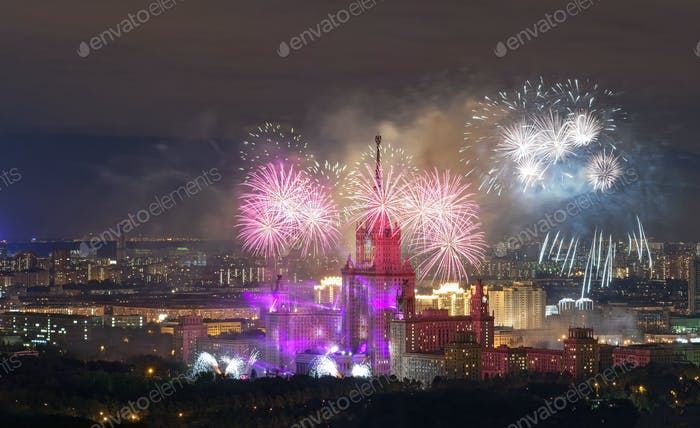 View from the roof tops on fireworks over the night Moscow city