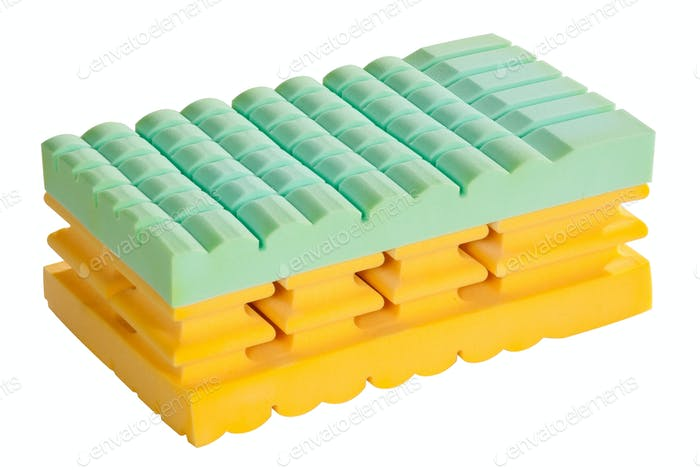 Structural sample of a memory foam mattress