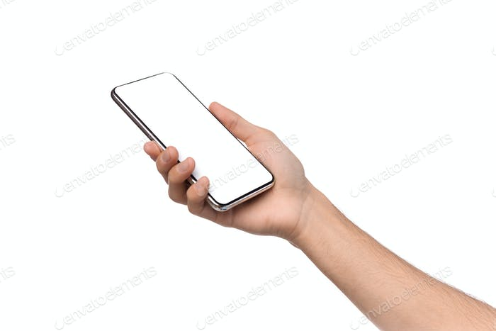 Smartphone with blank screen in male hands on white background