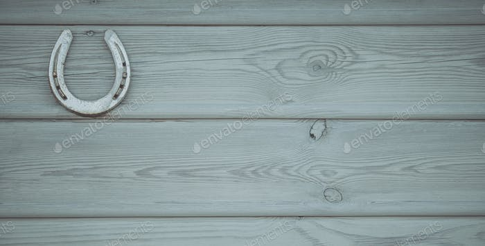 Wood Wall with Horseshoe