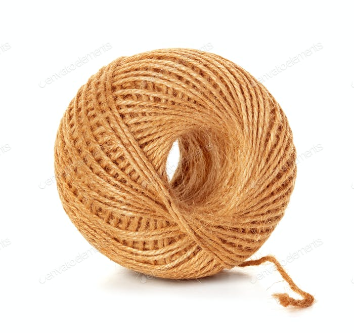 Skein of jute twine isolated on the white background