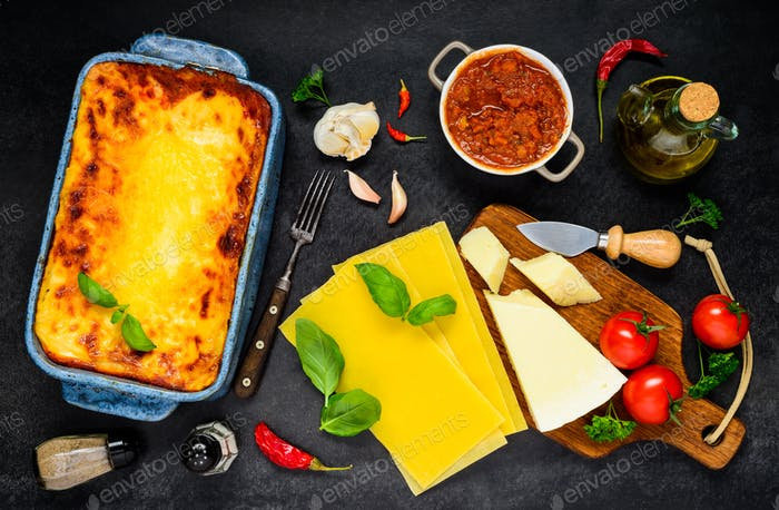 Lasagna Pasta with Cooking Ingredients