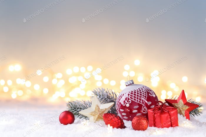 Red and gold Christmas decorations