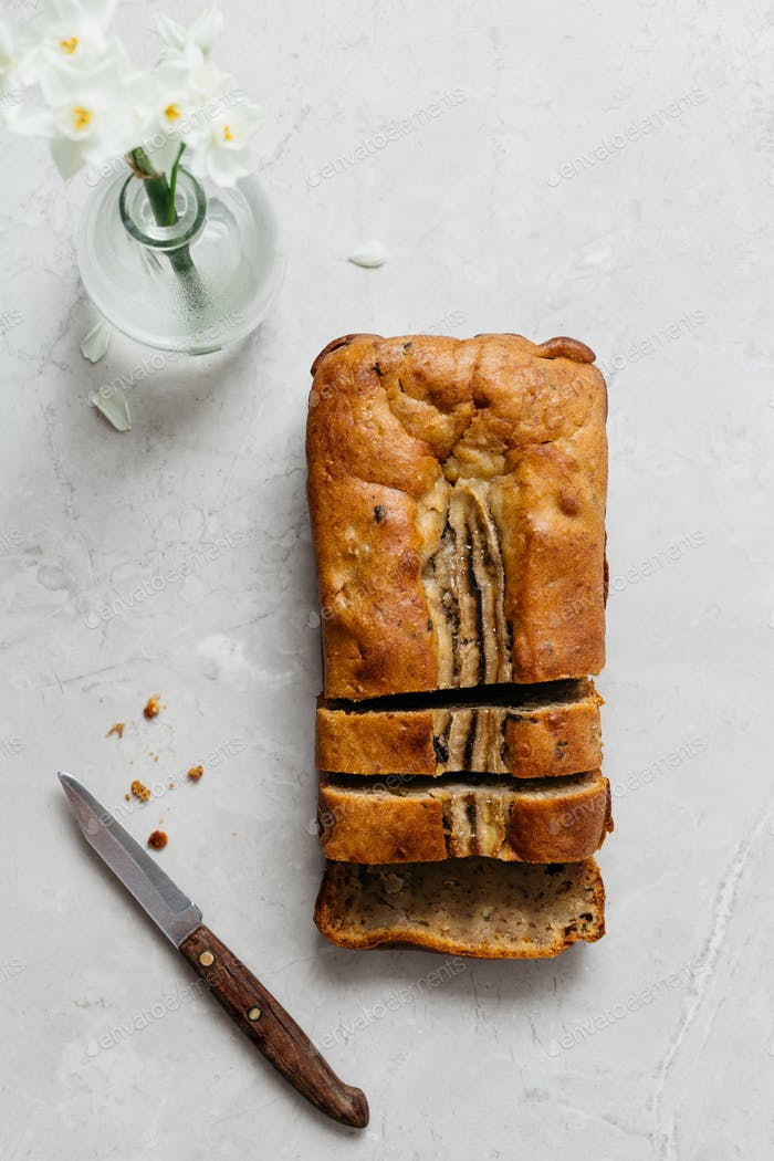Banana Bread on Marble Table