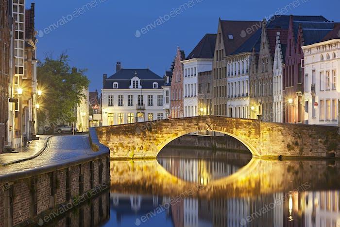 Canal Bridge In Brügge At Night