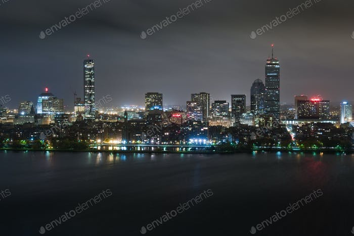 Back Bay Overcast Night Aerial