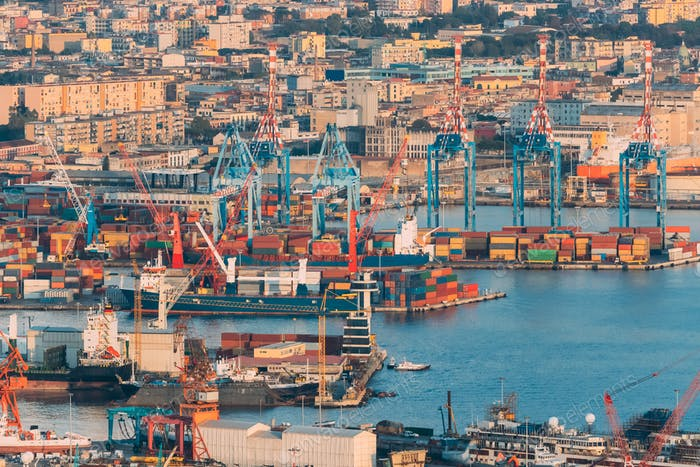 Naples, Italy. Top View Of Container Terminal In Port Of Naples