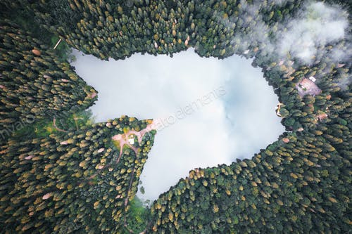 Aerial view of wild Lake Synevir