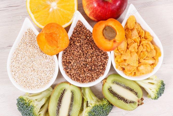 Gesunde nahrhafte Lebensmittel als Quelle natürliche Mineralien, Vitamin B3 und Ballaststoffe