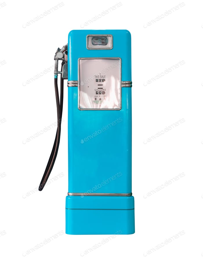 Vintage blue fuel pump on white