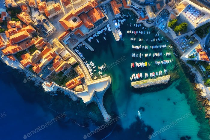 View from the air on fortress in Dubrovnik, Croatia