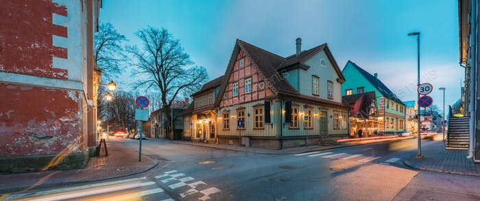 Parnu, Estonia. Night View Of Kuninga Street With Old Buildings,