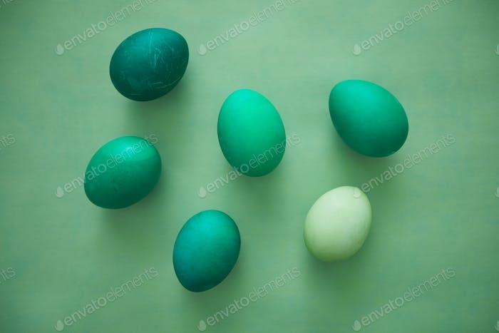 Easter Eggs in Emerald Gradient