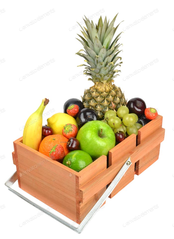 Wooden Box of Fresh Fruit