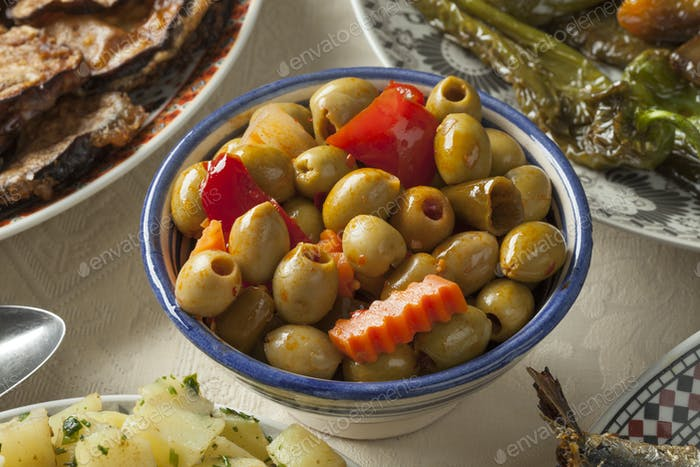 Bowl with traditional Moroccan pickled olives