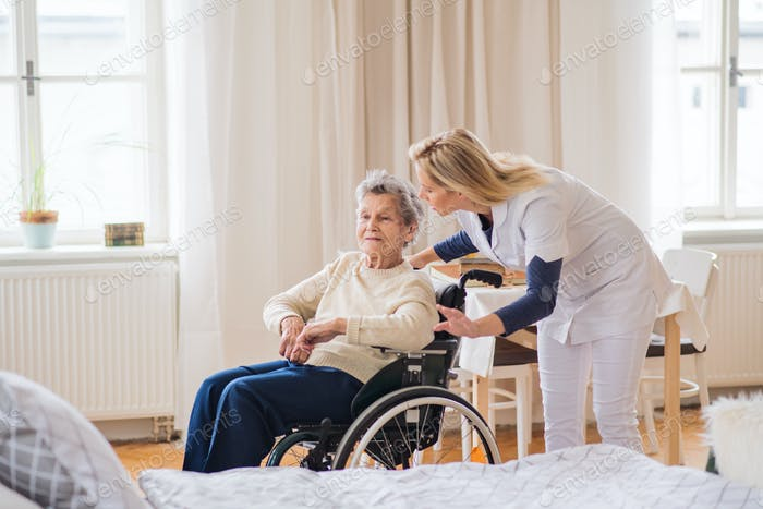 A health visitor talking to a senior woman in wheelchair at home.