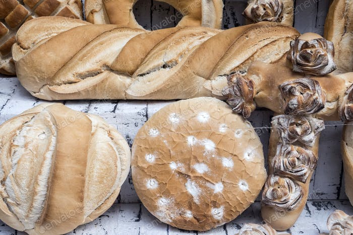 Different types of traditional bread of Caceres, Spain