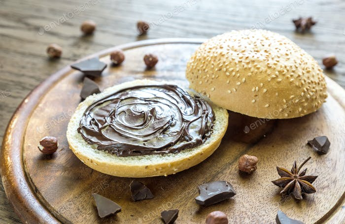 Seasame bun with chocolate cream and nuts