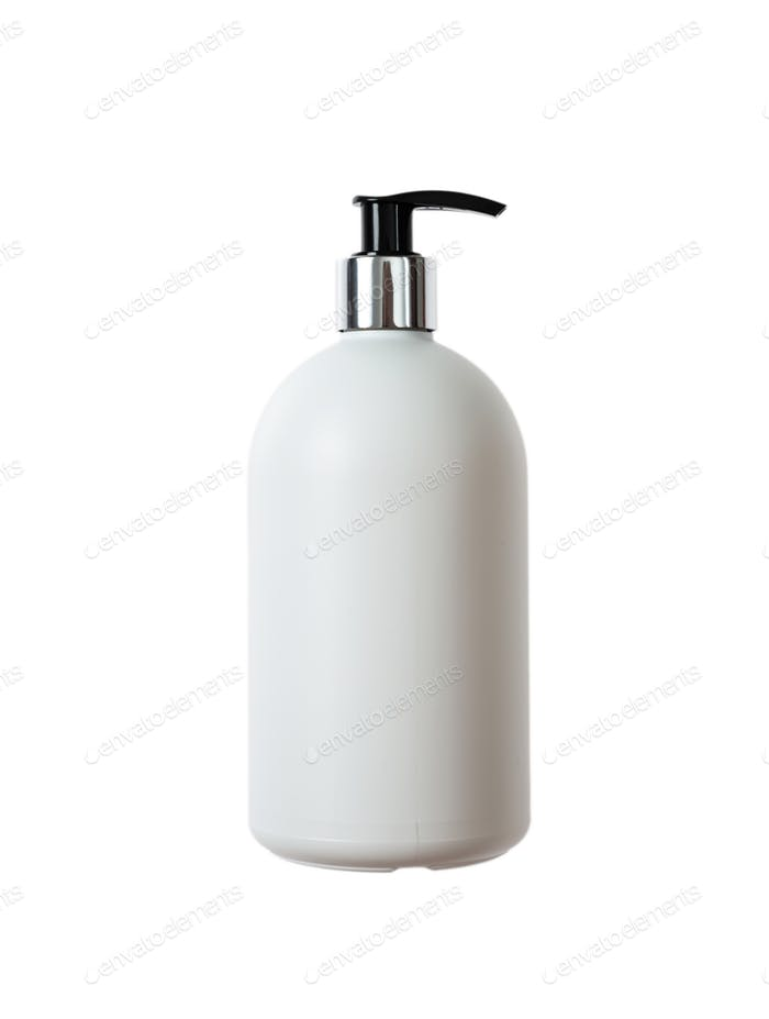 Hand soap white bottle, cut out and isolated on a white background