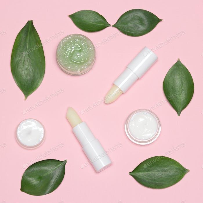 Natural lip skin care products flat lay set