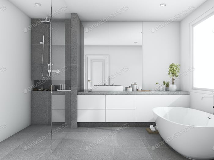 3d rendering luxury and modern style wood bathroom near window