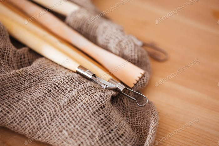 Set of potter sculpting tools
