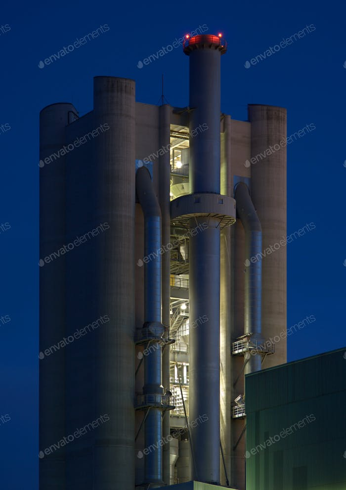Cement Factoy Tower At Night