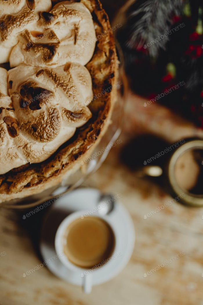 Coffee and meringue cake