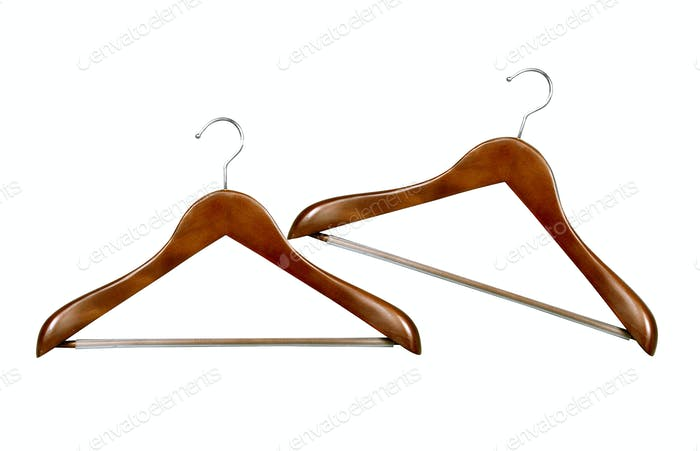 Coat hangers isolated over white background