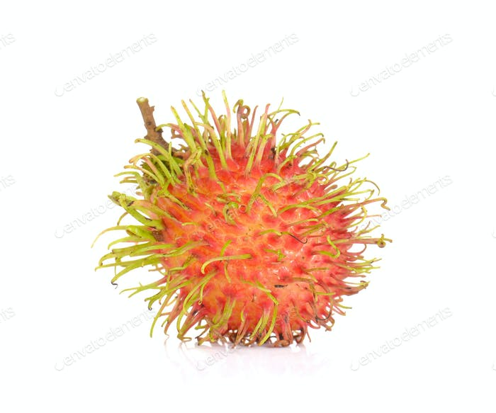 Fresh rambutan isolated on white background.