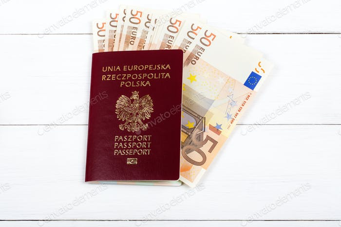 Polish passport with European currency